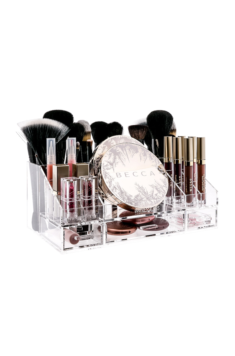 Impressions Vanity Brush and Makeup Organizer Tray in Clear
