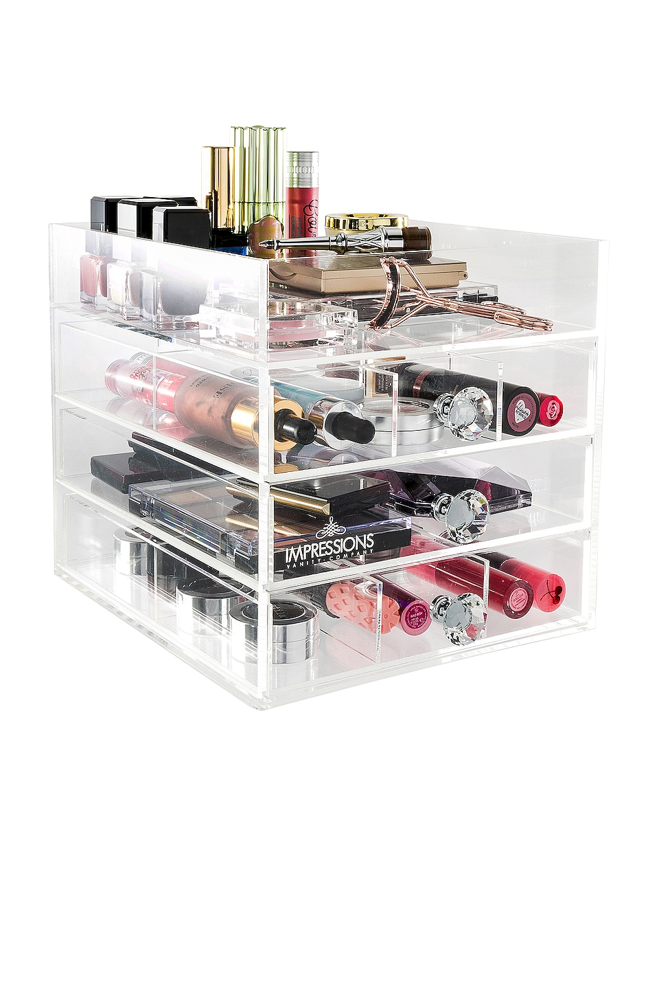 IMPRESSIONS VANITY Diamond Collection Open Top Petite 4-Tier Acrylic Makeup Organizer in Beauty: Na