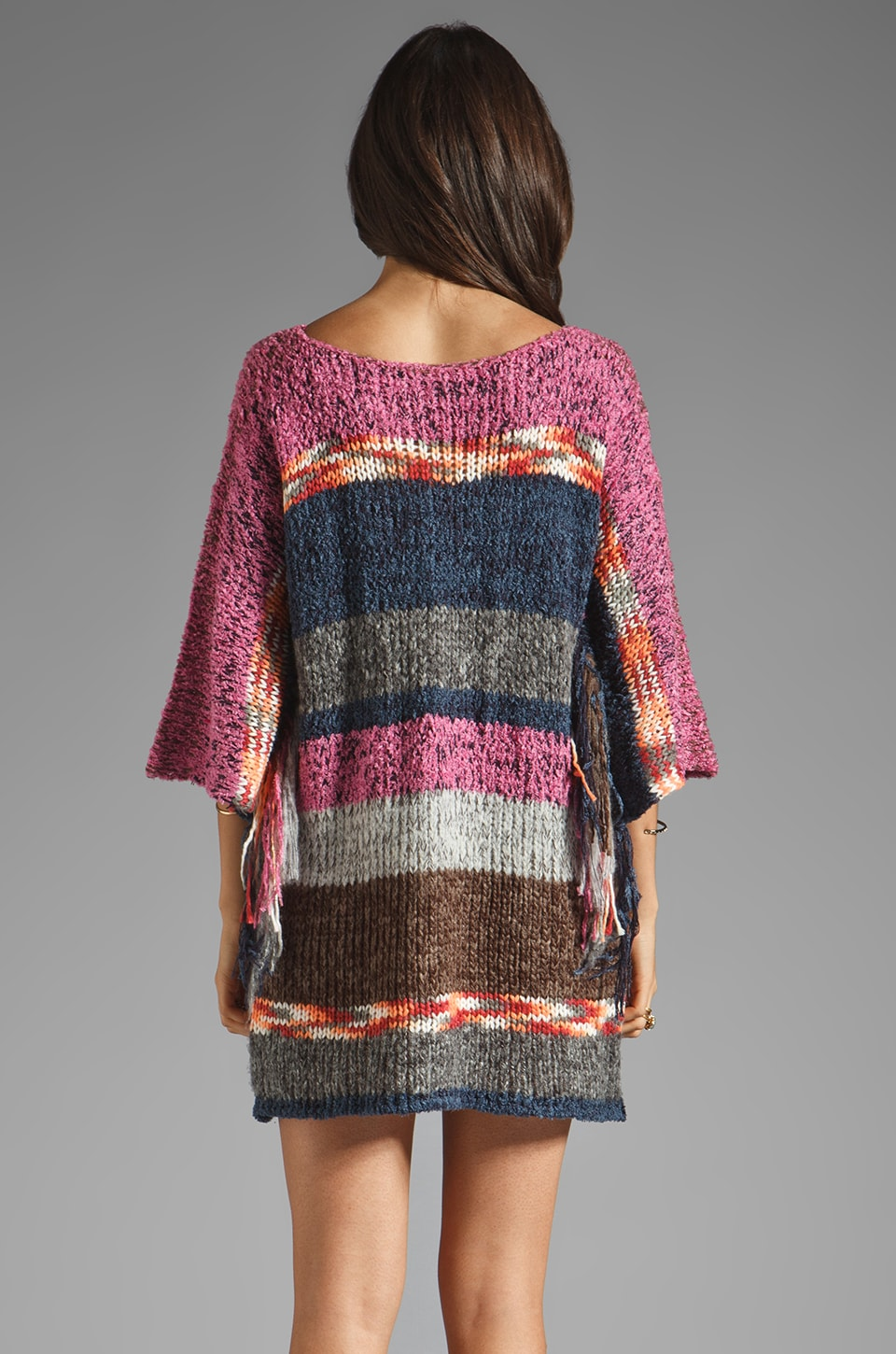 Indah Atlas Mix Knit Fringe Sleeve Mini Dress in Earth