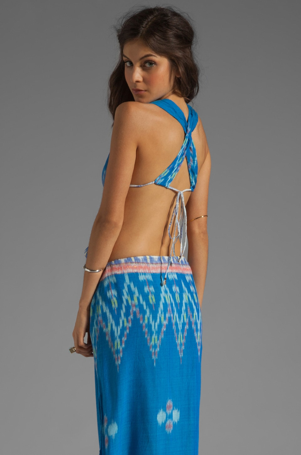 Indah Nyx Open Back Halter Maxi in Blue Endek
