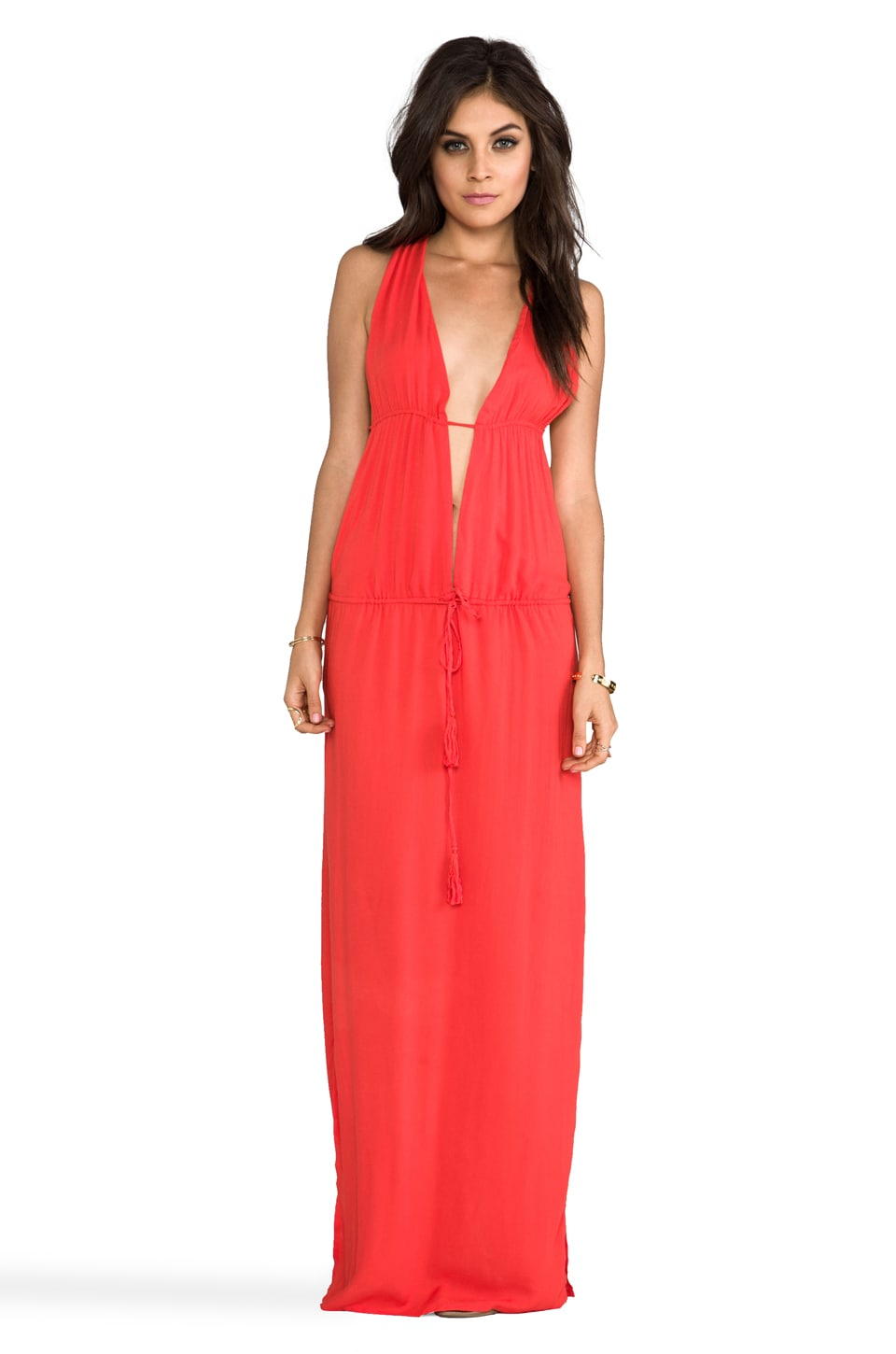 Indah Nyx Rayon Crepe Split Front Open Back Halter Maxi Dress in Papaya