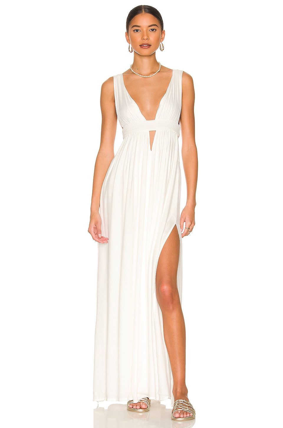 Indah Anjeli Empire Maxi Dress in White