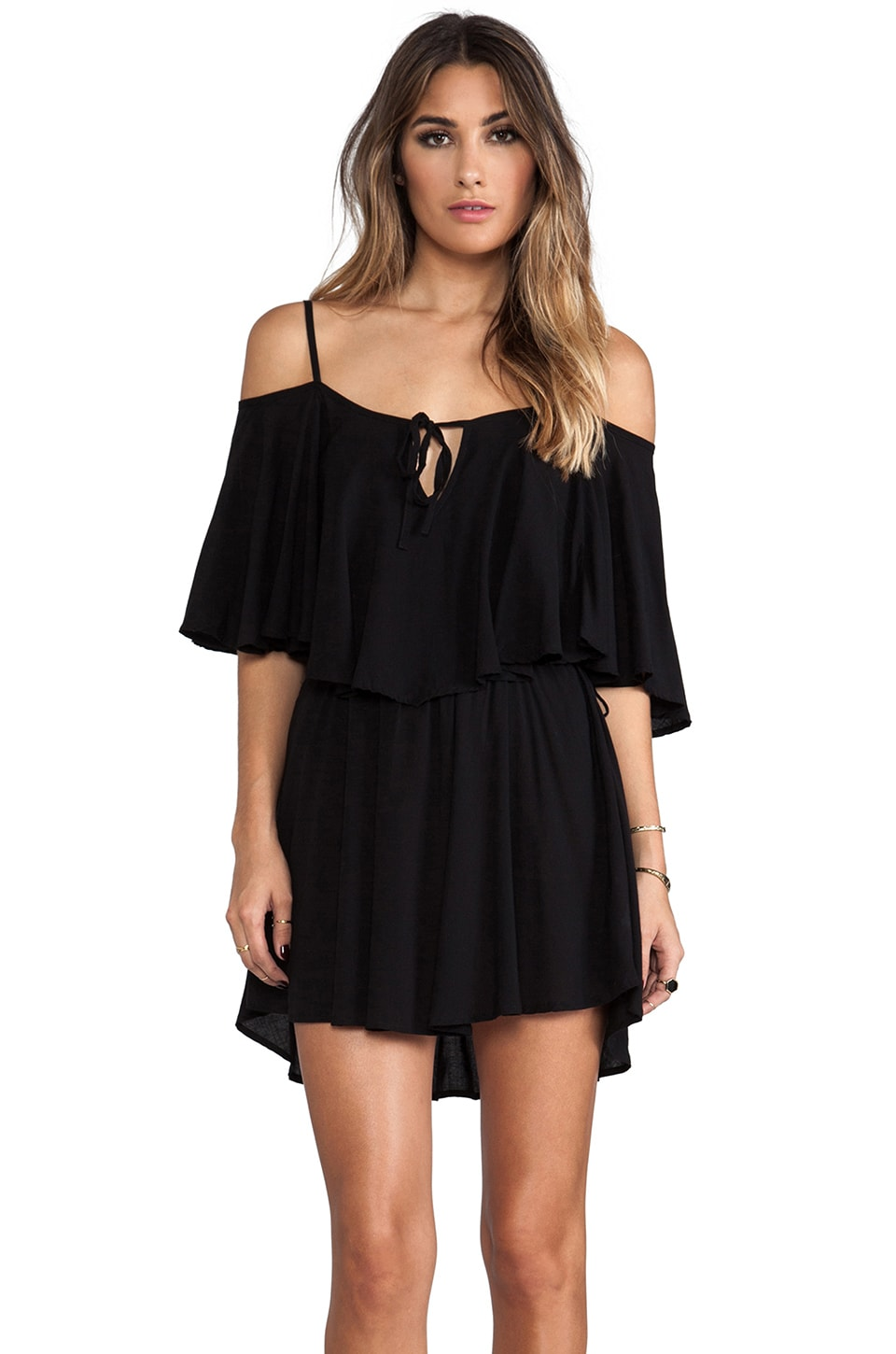Indah Zhina Rayon Chiffon Flounce Mini Dress in Black