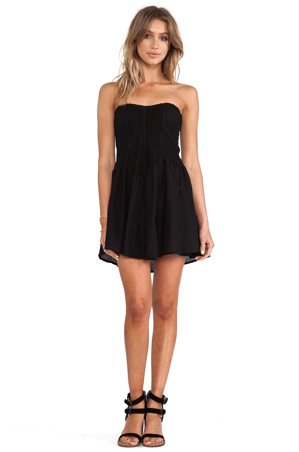 Indah Wren Strapless Pleated Mini Dress in Black