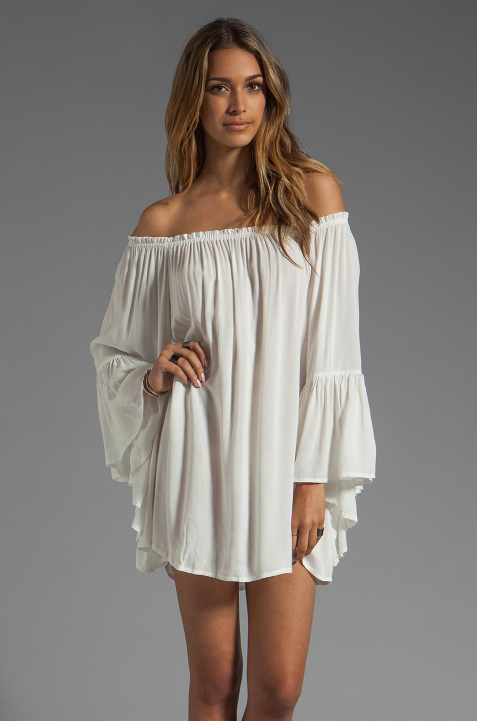 Indah Kamani Ruffle Edge Mini Dress in White