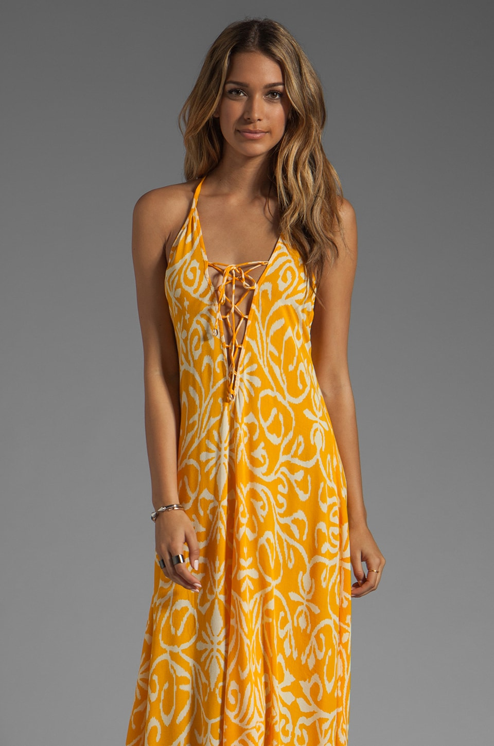 Indah Satria T-Back Lace Up Maxi Dress in Antik Yellow