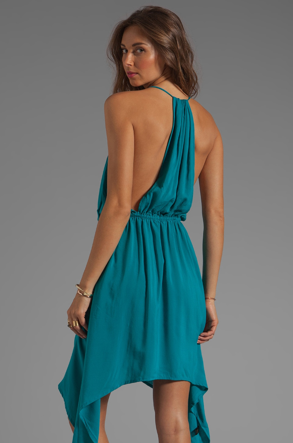 Indah Rinjani Draped Back Sundress in Turquoise