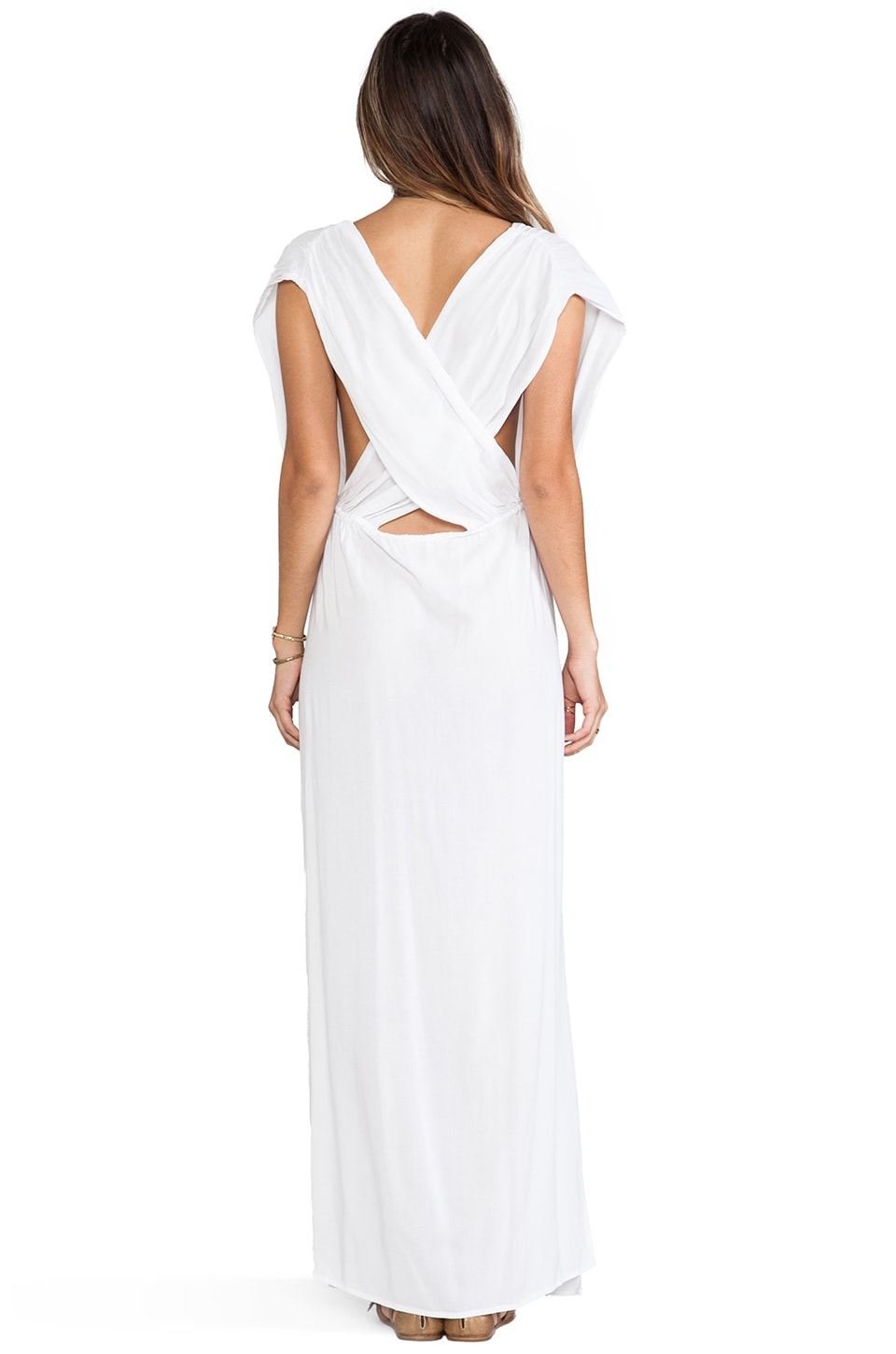 Indah Jade V Neck Draped Lounge Dress in White