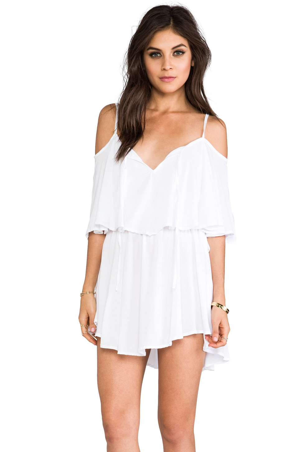 Indah Zhina Rayon Chiffon Flounce Mimi Dress in White