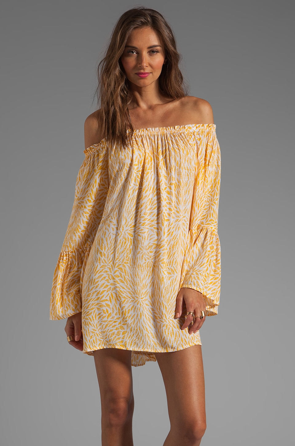 Indah Kamani Ruffle Edge Mini Dress in Padi Yellow