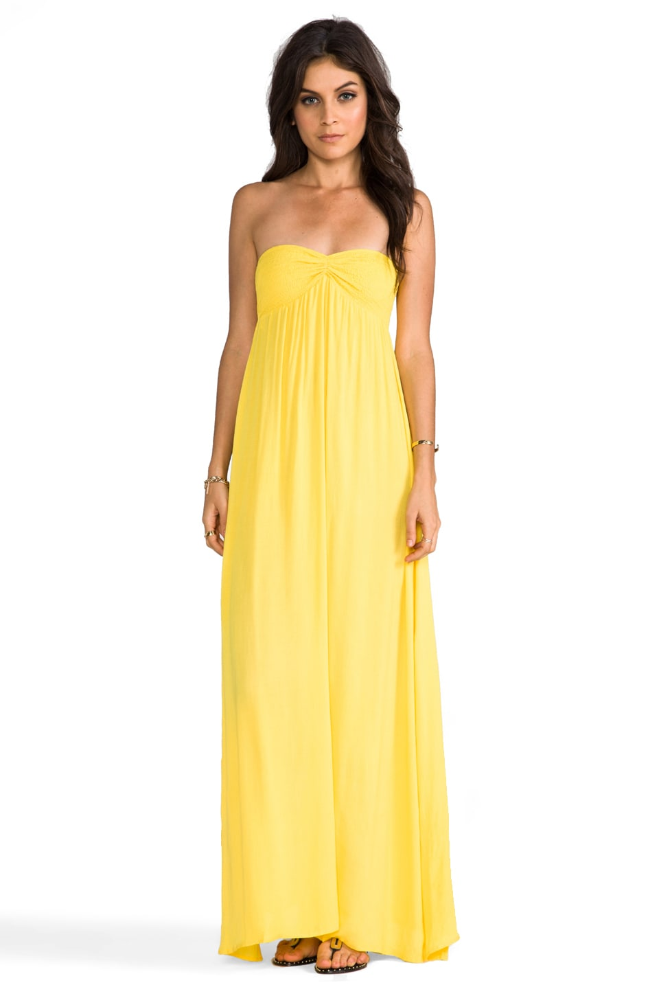 Indah Zanzi Rayon Crepe Pinch Front Smocked Bust Strapless Maxi Dress in Sunshine