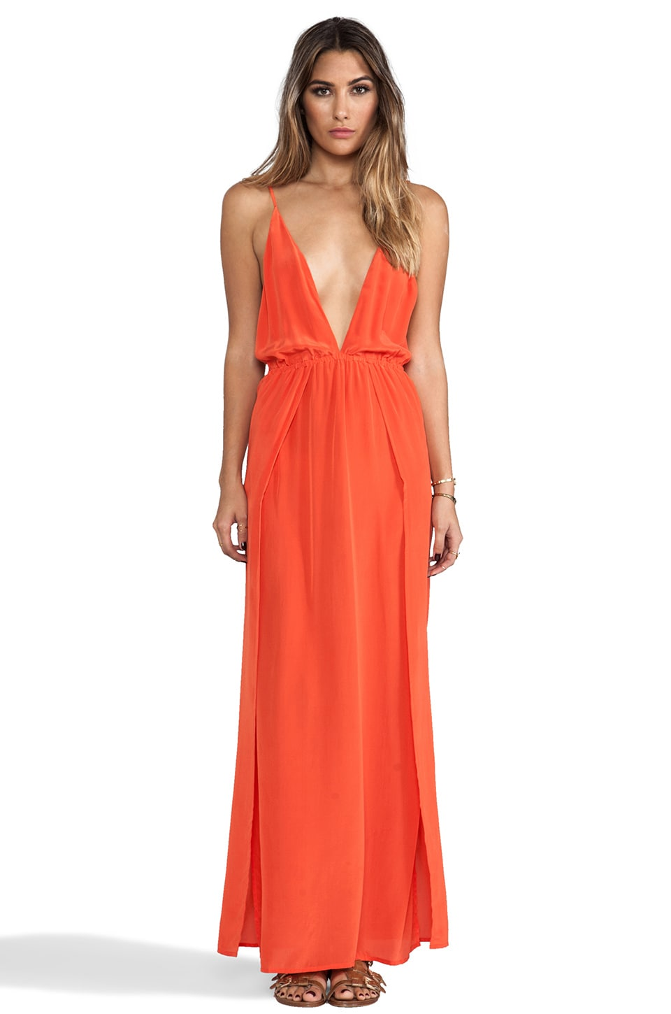 Indah River Silk Crepe Split Front Wrap Side Maxi Dress With Adjustable Tie Back in Papaya
