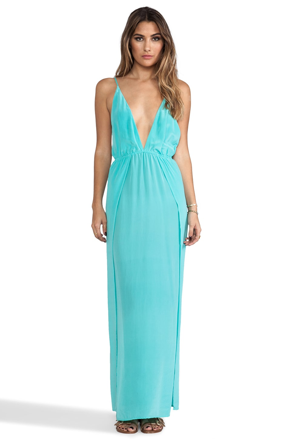 Indah River Silk Crepe Split Front Wrap Side Maxi Dress With Adjustable Tie Back in Aqua