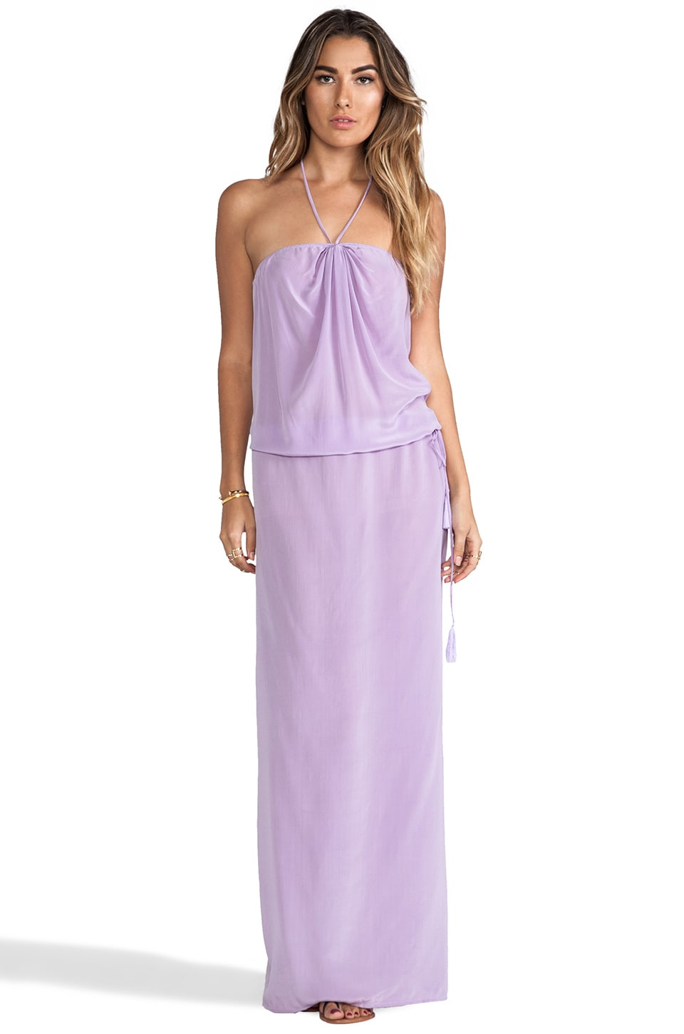 Indah Roo Silk Crepe Long Strapless Maxi Dress With Adjustable Waist and Tie Top in Lavender