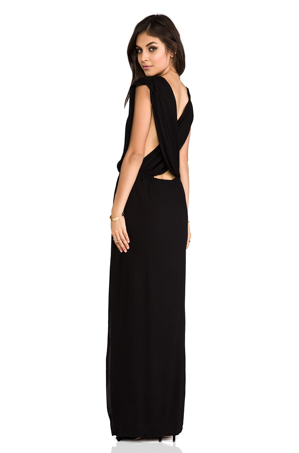 Indah Jade Rayon Crepe Plunging V-Neck Draped Cross Back Maxi Lounge Dress in Black