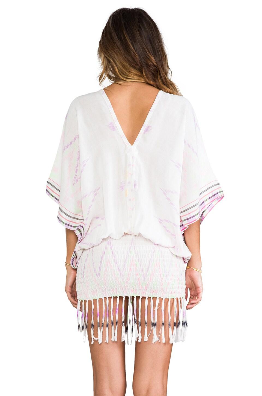 Indah Bayan Smocked Kaftan Mini Dress in White Endek