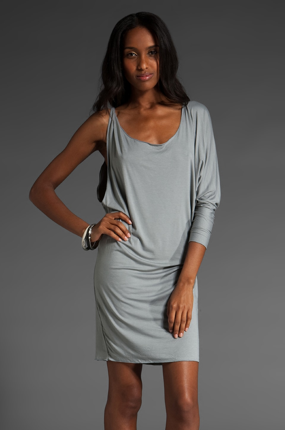 Indah Draped Back One Sleeve Mini Dress in Grey
