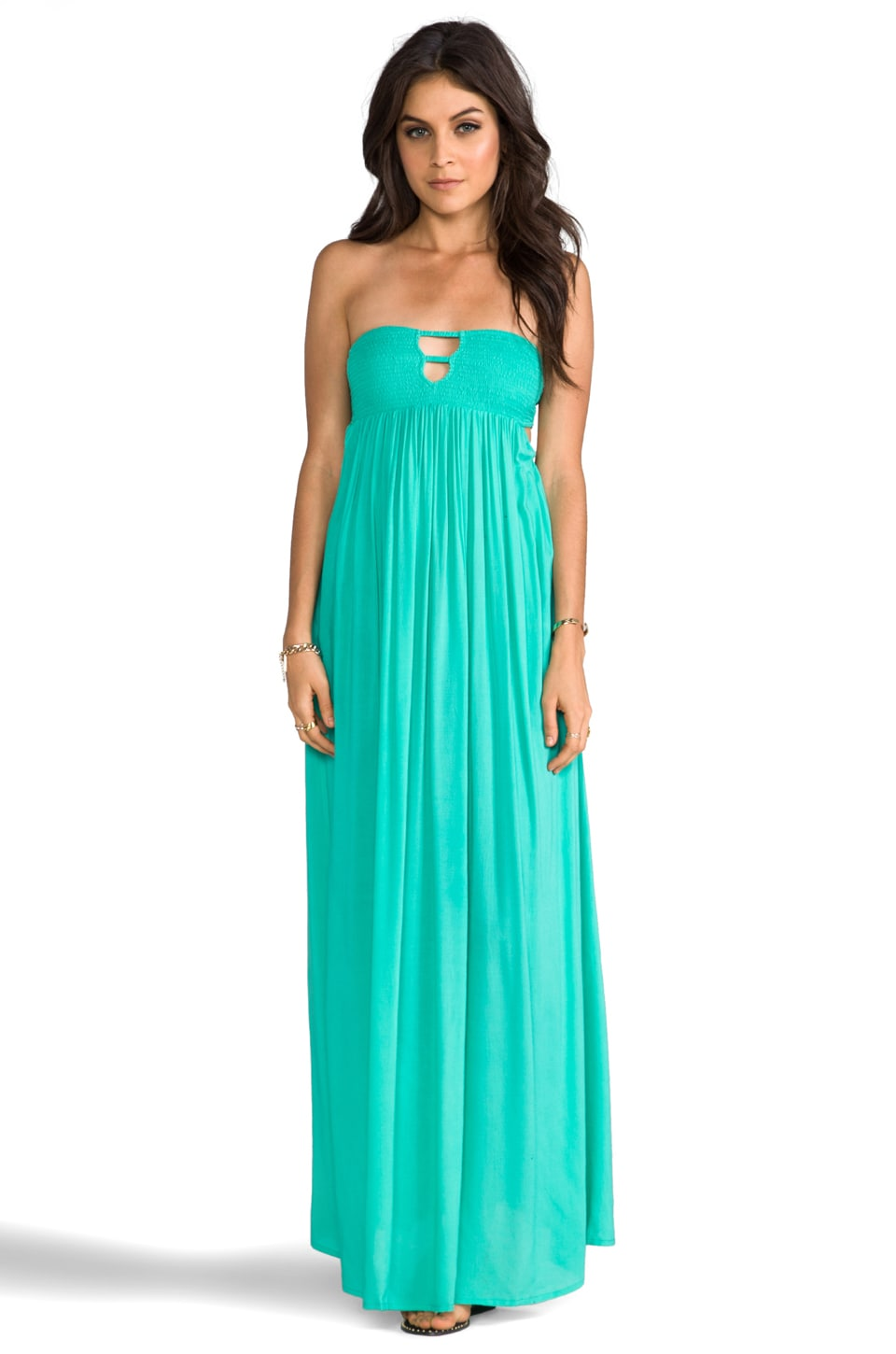 Indah Flamingo Rayon Crepe Smocked Bandeau Maxi Dress in Aqua