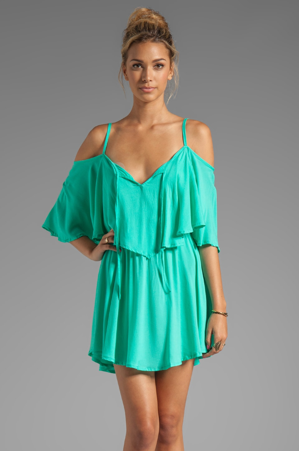 Indah Zhina Flounce Top Mini Dress With Interchangeable Top in Aqua