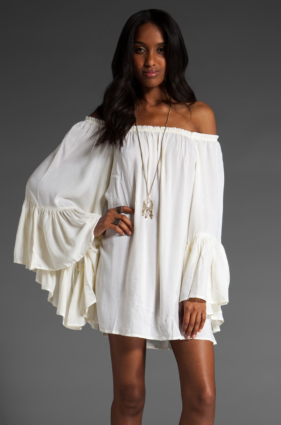 Indah Kamani Off The Shoulder Dress in Ivory