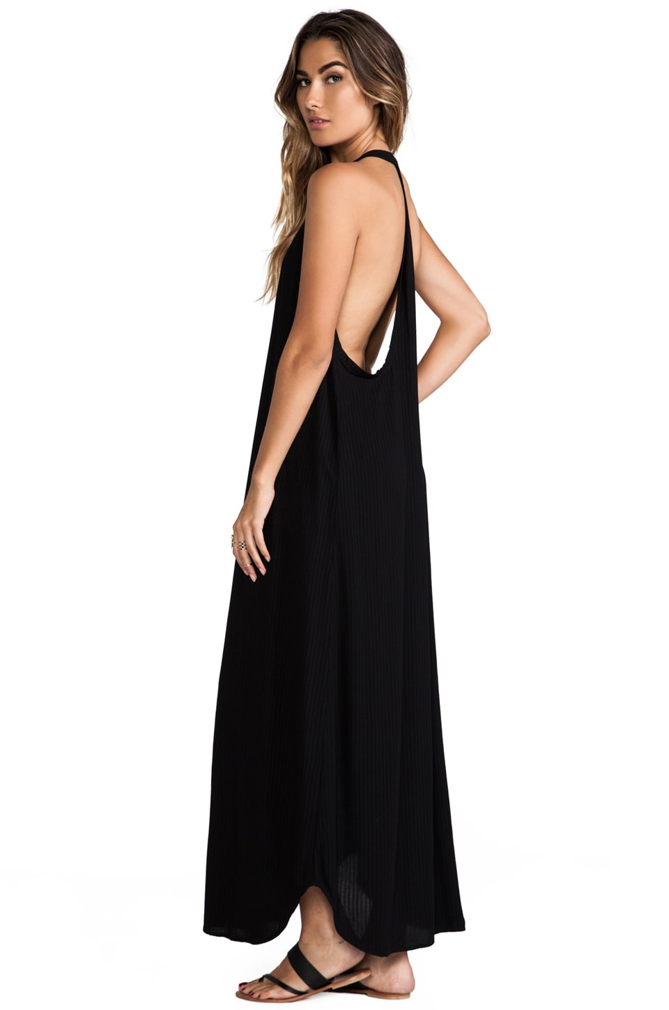 Indah Carmen Deep V-neck T-back Sleeveless Maxi Dress in Black