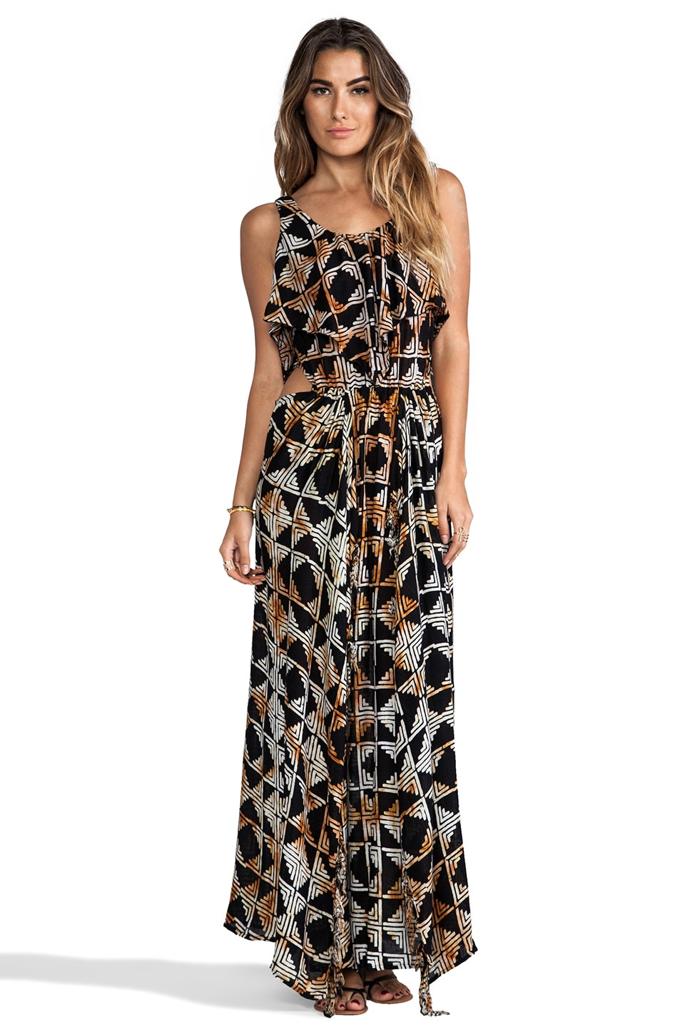 Indah Zanzibar Flounce Cut Out Maxi Dress in Black Tahiti
