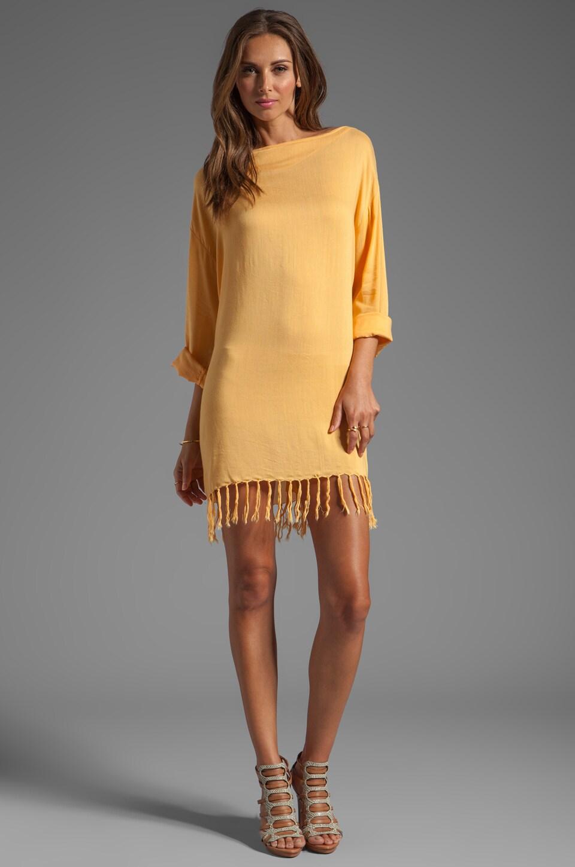 Indah Bridgette Long Sleeve Shift Mini Dress in Gold