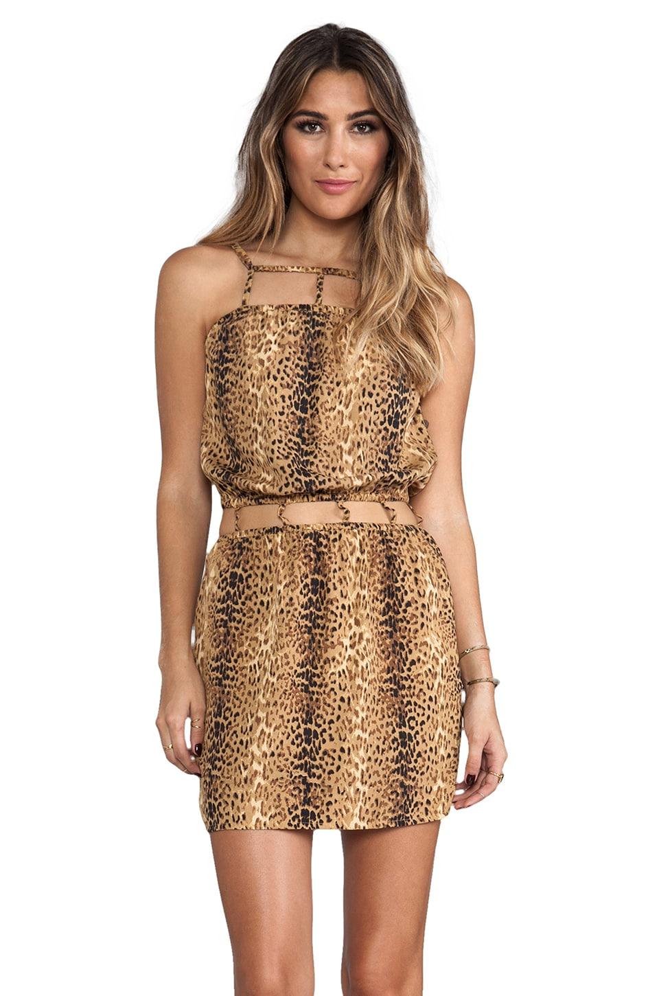 Indah Safi Cut Out Trim Mini Dress in Gold Cheetah