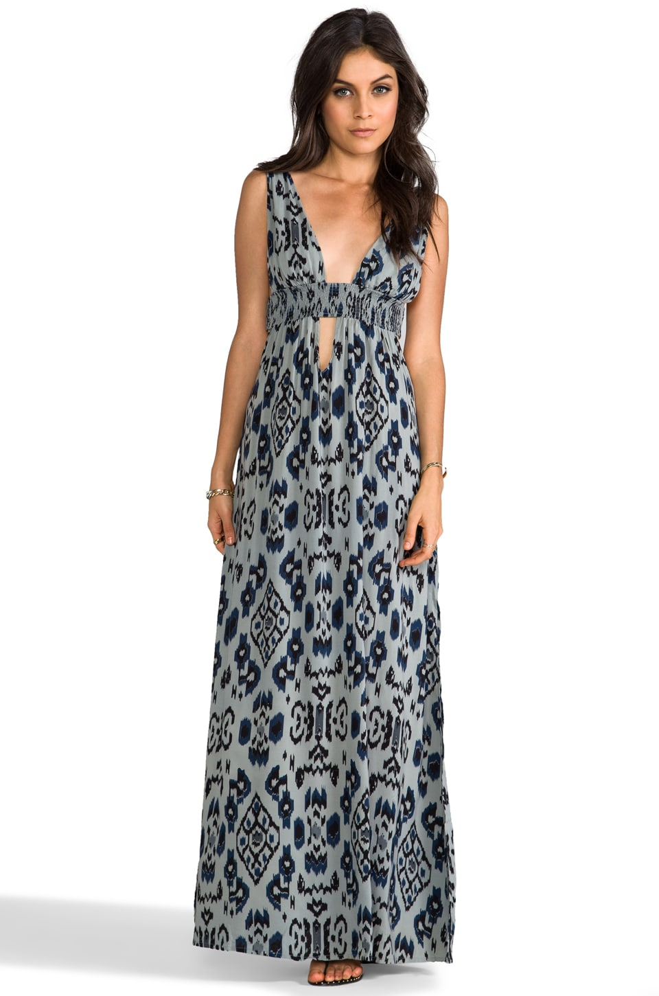 Indah Anjeli Plunging V-Neck & Back Empire Maxi Dress in Borneo Grey