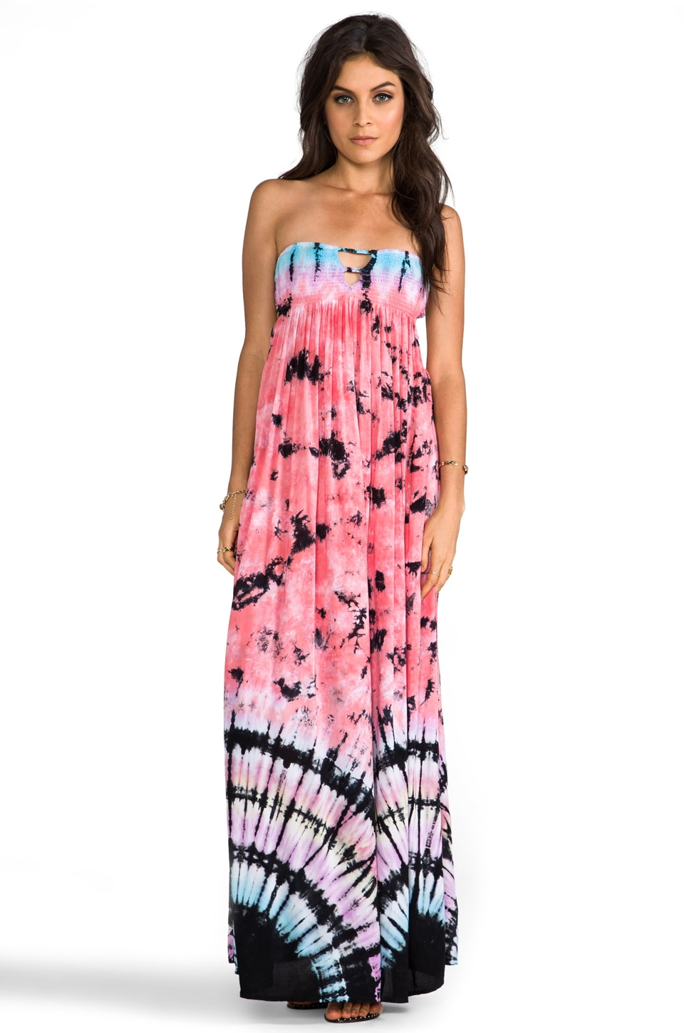 Indah Flamingo Smocked Bandeau Maxi Dress in Tie Dye