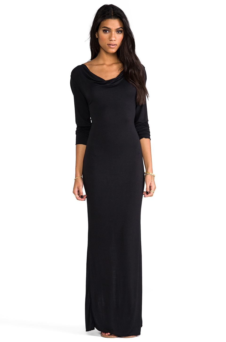 Indah Santee Long Sleeve Maxi Dress in Black