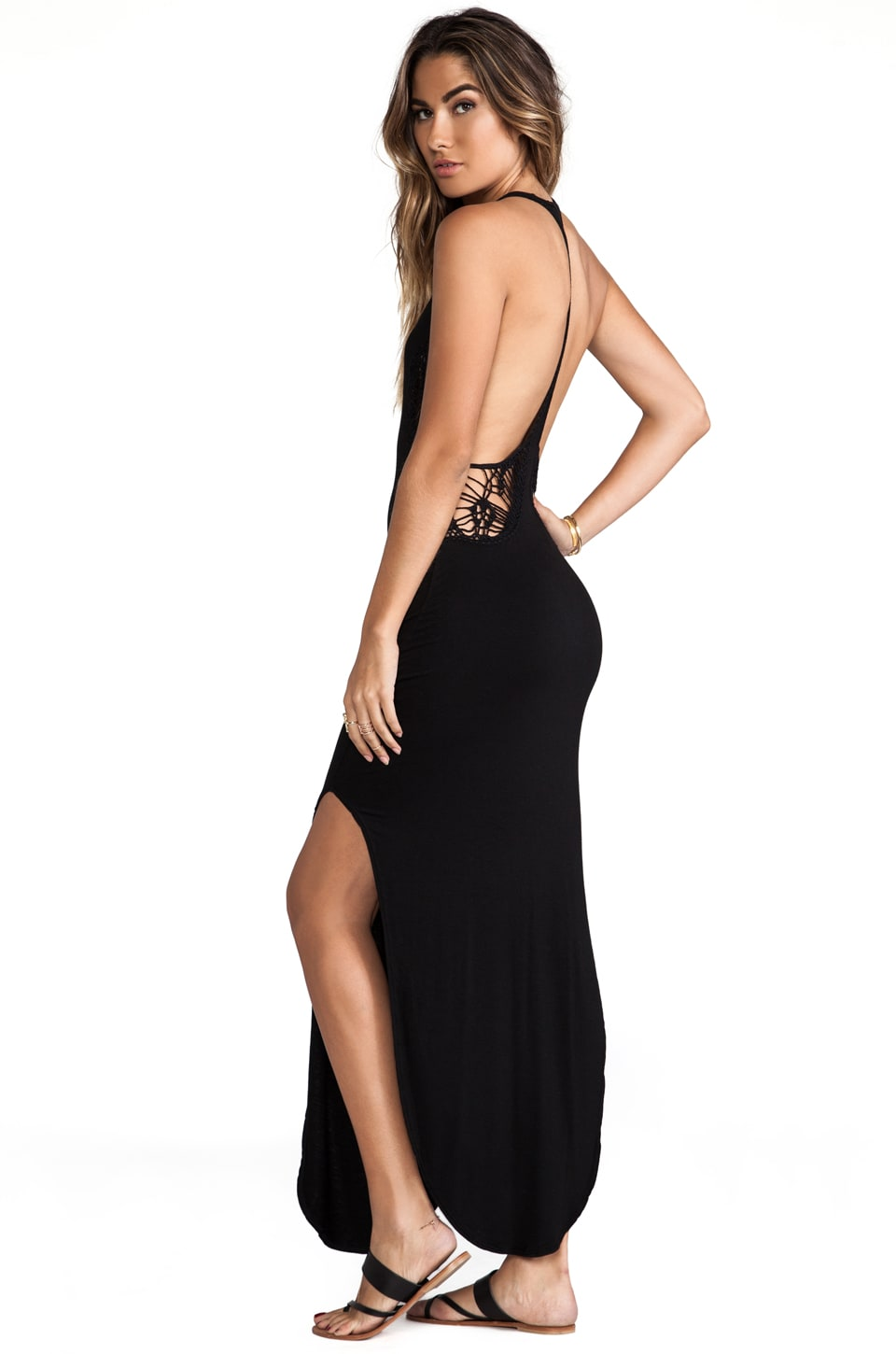Indah Atlantic Cut Away Maxi Dress in Black