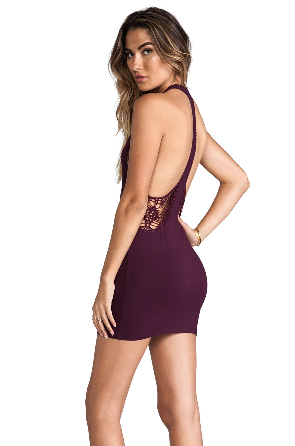 Indah Fleet Cut Away Mini Dress in Plum