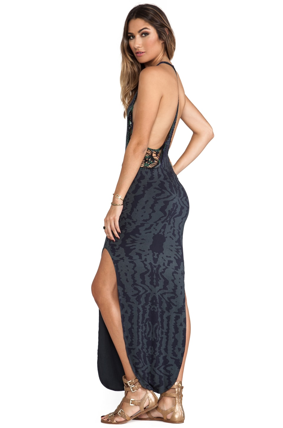 Indah Atlantic Cut Away Maxi Dress in Ink Violet