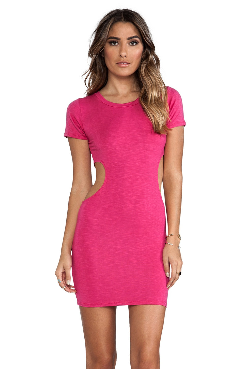 Indah Bijou Twist Tee Cutout Mini in Hot Pink