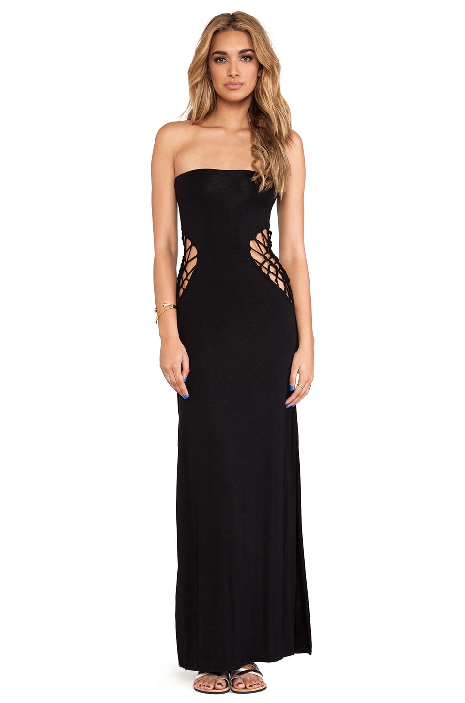 Indah Grasshopper Strapless Maxi in Black