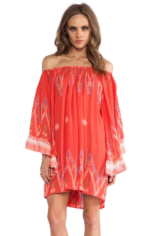 Indah Celeste Angel Wing Mini Dress in Coral Endek