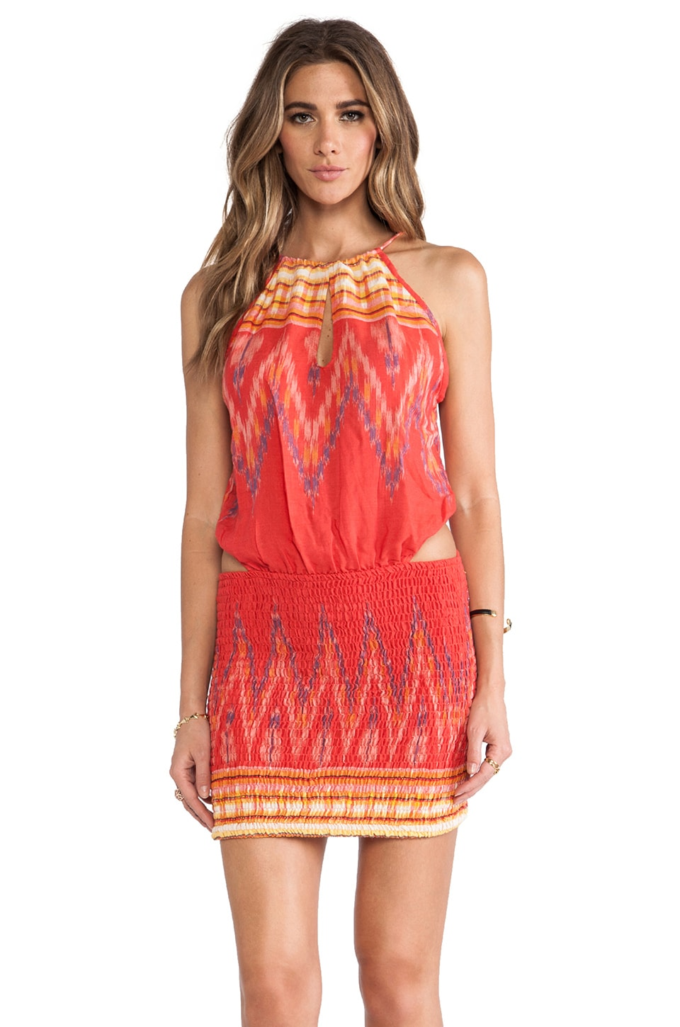 Indah Canoa Cut Away Smock Mini Dress in Coral Endek