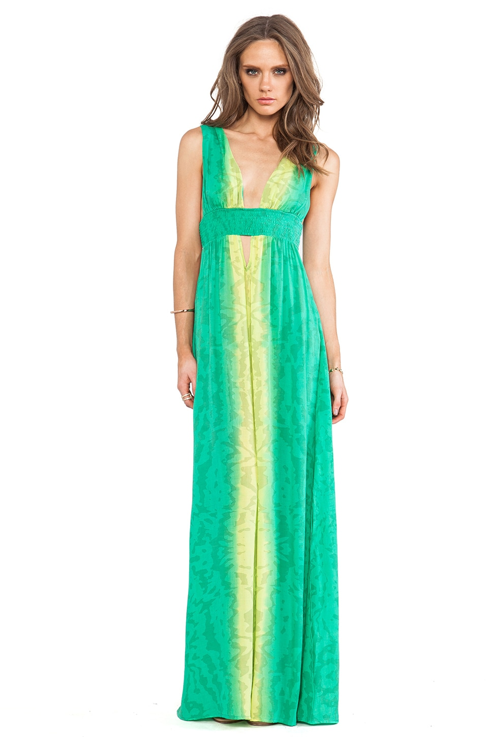 Indah Anjeli Plunge Empire Maxi Dress in Ink Fade Aqua