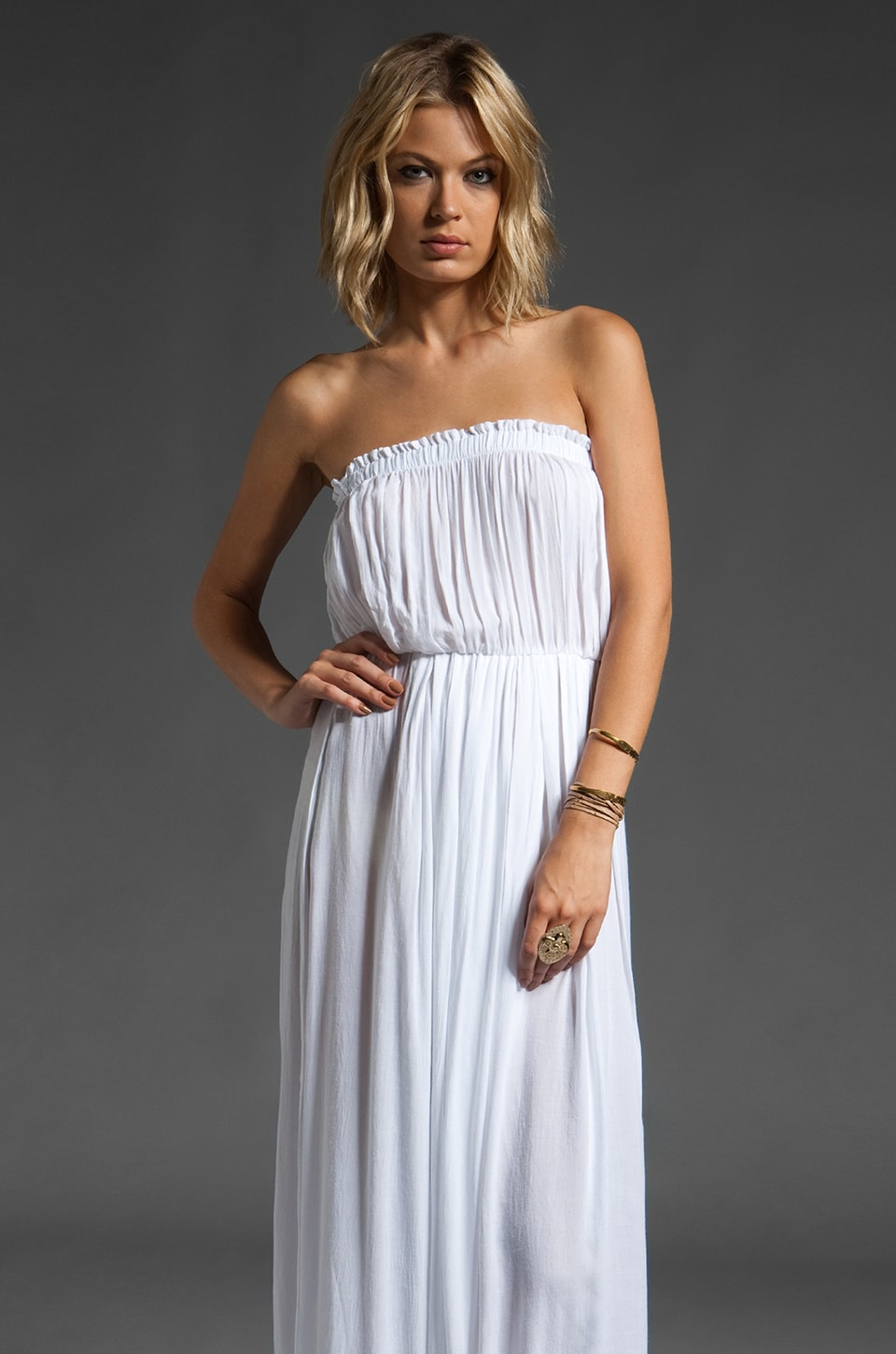 Indah Moana Strapless Maxi Dress in White