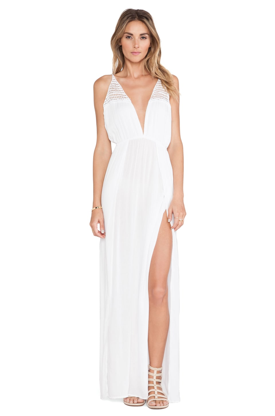 Indah X REVOLVE Isla Maxi Dress in White & Crochet