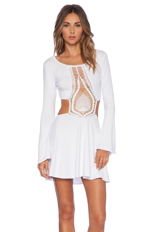 Indah Kiss Hand Crochet Bell Sleeve Dress in White