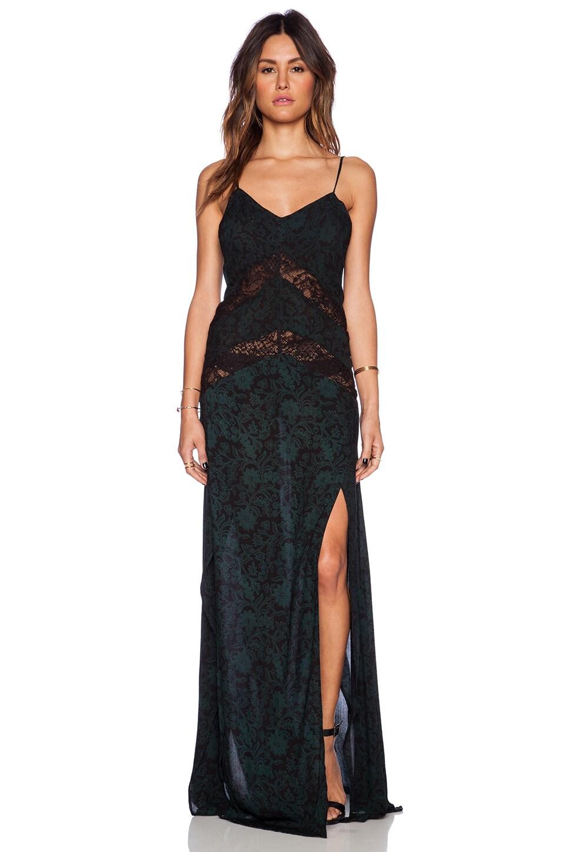 Indah Elate Panel Lace Slip Maxi Dress in Batik Green