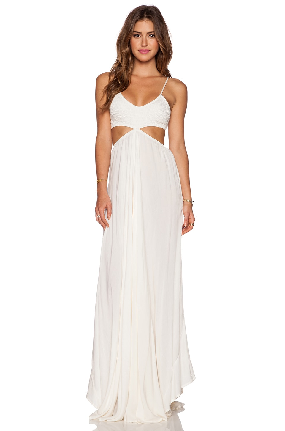 Indah Innocence Cutaway Maxi Dress in White