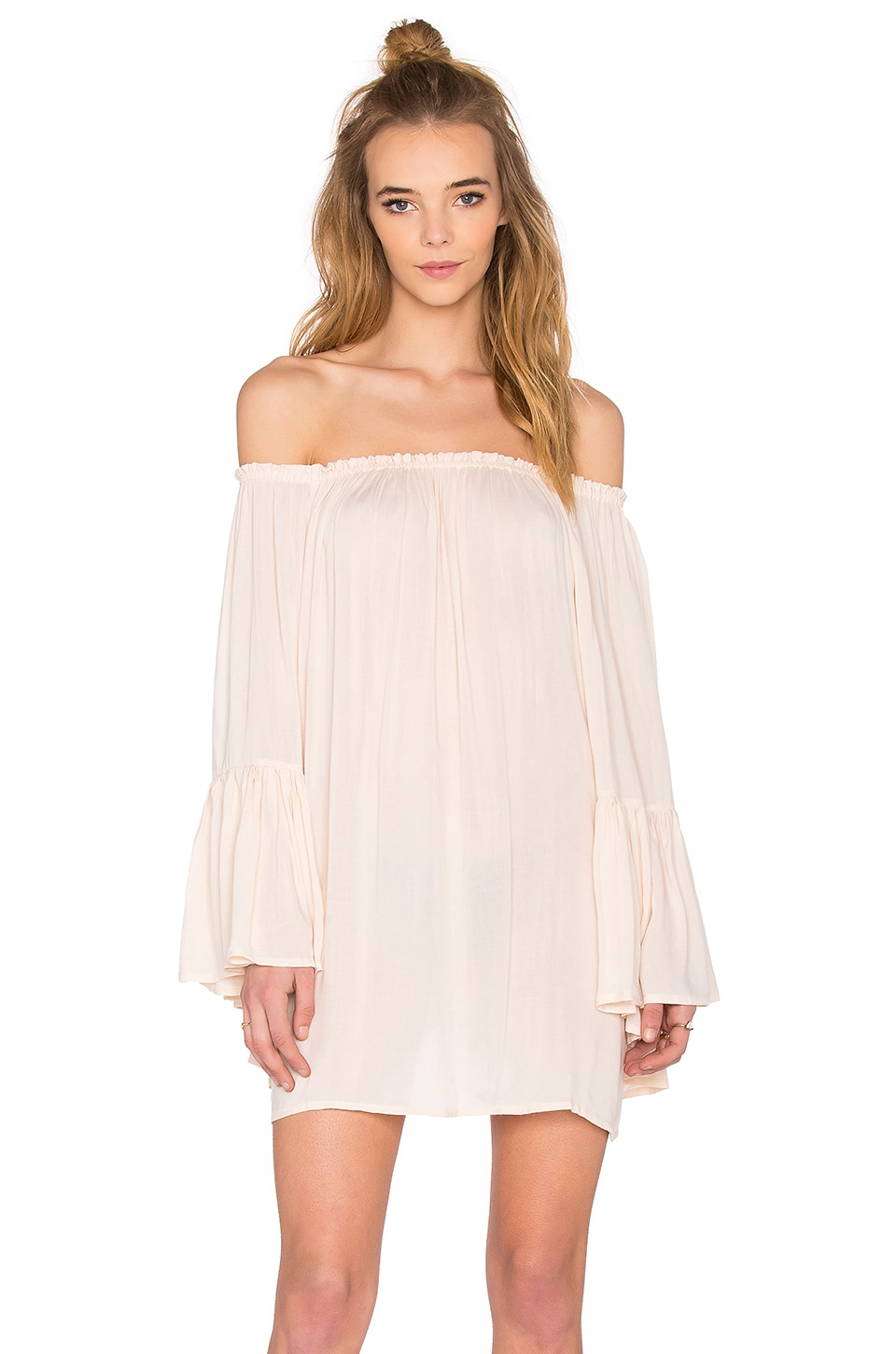 Kamani Off the Shoulder Mini Dress by Indah