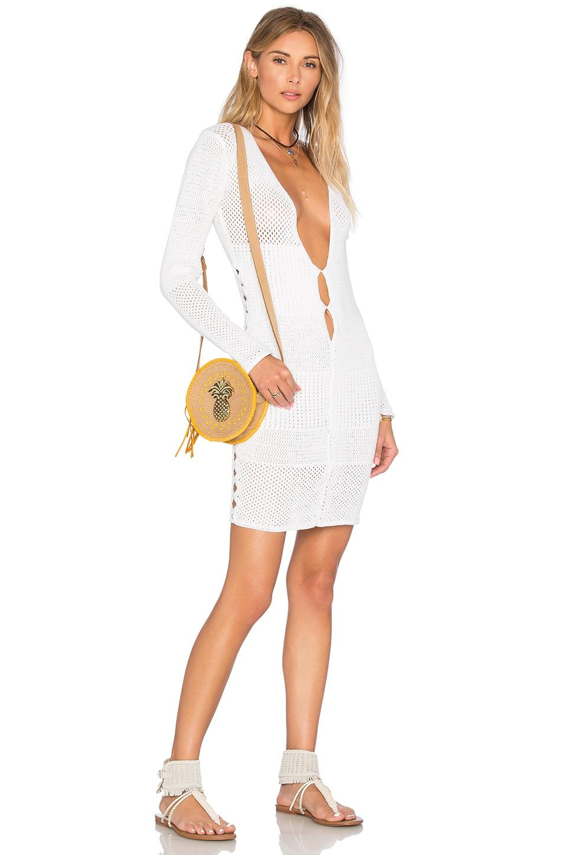 Indah Deja Long Sleeve Dress in White