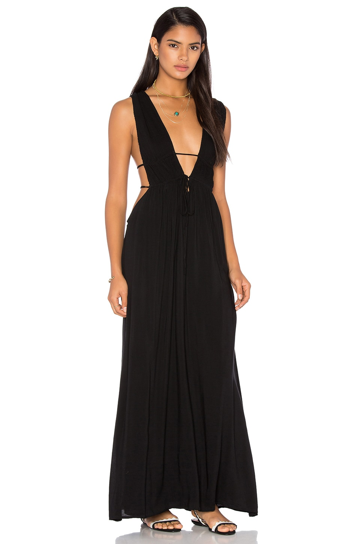 Indah Titanium Deep V Neck Cutout Maxi Dress in Black