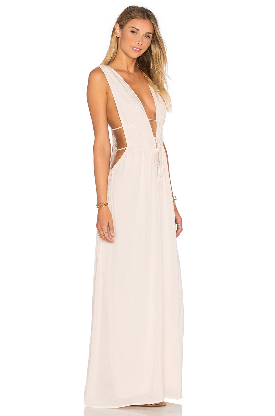 Indah Titanium Deep V Cutout Maxi Dress in Sand | REVOLVE