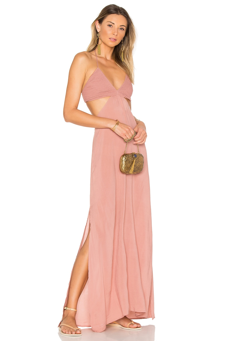 Indah Blaze Cutaway Maxi Dress in Dusty Rose