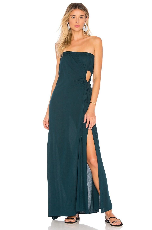 Indah Allegra Strapless Dress in Teal